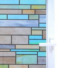 3D No Glue Static Removable Privacy Window Films Tinted Clings Colorful Brick