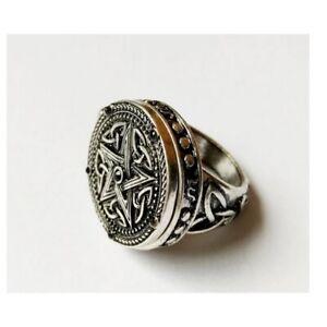 Pentagram Locket Ring Secret Compartment Gothic Stash Poison Pagan & Gift Bag