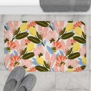 Floral Flower Pattern Bath Mat, Kitchen Mat, Floor Mat, Indoor Mat