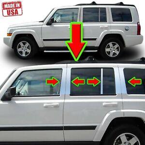 Chrome Pillar Trim for Jeep Commander 06-10 10pc Set Door Cover Mirrored Post