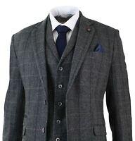 Mens 3 Piece Classic Tweed Herringbone Check Grey Navy Slim Fit Vintage Suit