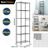 6 Tier Wire Shelving Unit Adjustable Metal Shelf Rack Kitchen Storage Organizer
