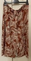 RIVERS Palm tree print button front midi SKIRT, terracotta, size 12, NEW w tag