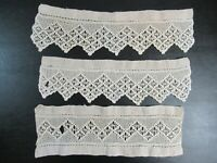 Antique Crocheted Lace Lot 3 Pieces
