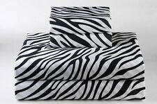 Luxurious Bedding Set USA Size Zebra Print 100% Cotton 800-TC Extra Drop