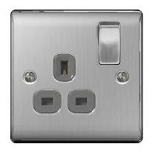 BG Nexus Metal NBS21G - STAINLESS STEEL Single Plug Socket 1 Gang Brushed Satin