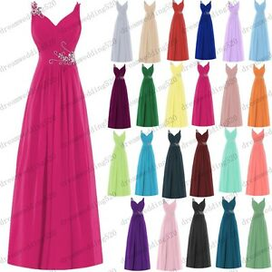 Long Chiffon Wedding Evening Formal Party Ball Gown Prom Bridesmaid Dress 6-26