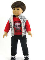 """Rock Skull Vest 3pc Pant Set Fits 18"""" American Boy or Girl Doll Clothes"""