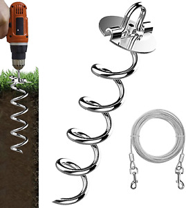 Eurmax up to 500Lbs Spiral Pet Dog Tie Out Stakes Bonus 17FT Dog Tie Out