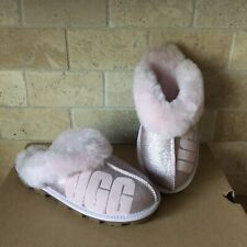 UGG COQUETTE LOGO SPARKLE SEASHELL PINK FUR CUFF SHOES SLIPPERS SIZE 11 WOMENS