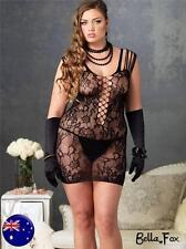 Fishnet Bodystocking Black Sexy Lingerie Lace Body Suit Plus sz 12-16