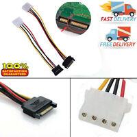 Stecker Buchse 4 poliger Netzteiladapter Adapterkabel zu Molex IDE SATA 15 polig