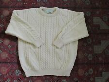 QUILLS WOOLEN MARKET ivory cable knit wool fisherman sweater LARGE