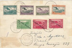 ALBANIA 1925  SHKODER TO TIRANE INTERNAL AIRMAIL COVER 7 STAMPS