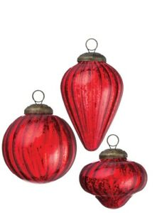Set of 3 Different Kugel Style Christmas Ornaments, RED mercury glass, NWT