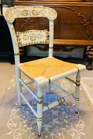Vintage Ethan Allen Button Back Hitchcock Chair White and Gold Rare