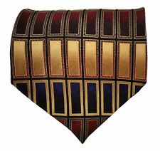 Valerio Garati Silk Tie Black Navy Burgundy Gold Pattern