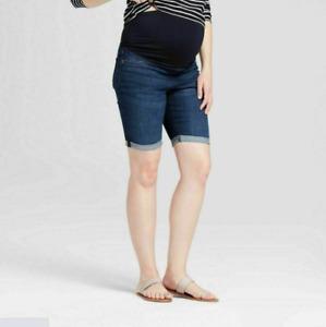 Maternity Crossover Panel Bermuda Jean Shorts Maternity by Ingrid & Isabel Sz 14