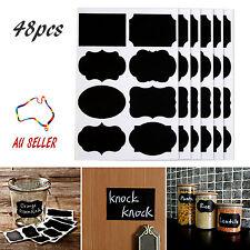 48pcs Removable Blackboard Stickers Labels ChalkBoard Craft Kitchen Jar Wedding