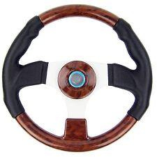 "Marine Steering Wheel Burl Wood PU Cover Aluminum Spoke Pontoon Power Boat 13.5"""