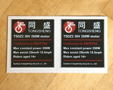 2x eBike sticker decal 250W 'road legal' for Tongsheng TSDZ2 36V electric motor