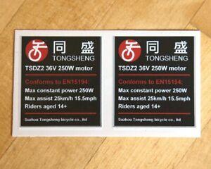 2x eBike sticker decal 250W 'road legal' for Tongsheng TSDZ2 36V electric motor