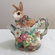 FITZ AND FLOYD RABBIT BUNNY WOODLAND SPRING TEAPOT RETIRED