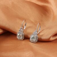 3Ct Round Cut Moissanite Beautiful Drop & Dangle Earrings 14K White Gold Finish