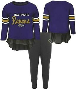 NWT ~ NFL Baltimore Ravens Mini Formation L/S Top & Legging Set Girls Size 4T
