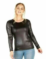 Ladies Black PVC Wet Leather Round Neck Look Long Sleeve Top Plus Size  New 8-22