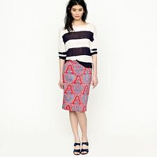 J Crew Printed Pencil Skirt in Stretch Cotton, Size 4