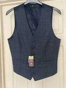 M&S Mens Luxury Wool Blue Waistcoat Large Chest 41-43 inch Slim Fit LONG - NEW