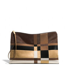 Coach womens Bags Patchwork Leather Haircalf Zip Clutch Multi Color Was $798