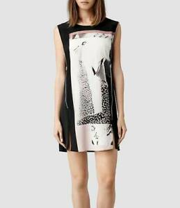 All Saints Silk Paradiso Aster Zip Dress Size 14 BNWT in Black £188