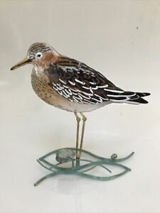 """Sandpiper & Two Shells Metal Enamel Bird Sculpture by Bovano of Cheshire 8 1/2"""""""