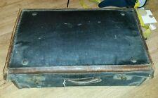 Vintage Suitcase Leather Edged Dark Blue / Black Classic Car Accessory