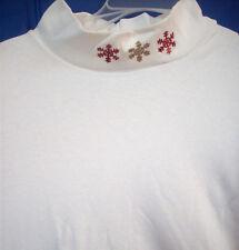 Shirt Ladies 1XL Embellished SNOWFLAKES  Mock Turtleneck Holiday Shirt    NEW!
