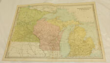 "1878 Antique Color Map/ Mi, Wi, Mn /Large 12.5x17"", Plus Index Pages"