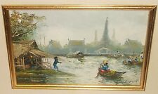 NORTAN THAILAND FISHING BOATS VILLAGE ORIGINAL OIL ON BOARD SEASCAPE PAINTING