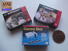 Set video game consoles boxes miniature. Nintendo 64 and Control Deck.Scale 1/12