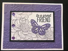 """Stampin Up Card Kit Set Of 4 """"To A Great Friend"""" Purple Embossed Floral"""
