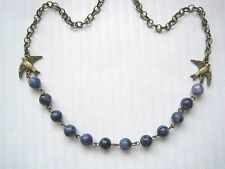"LAPIS LAZULI GEMSTONE BEAD CHAIN BIRD Swallows CHARM NECKLACE 18"" Bluebird"