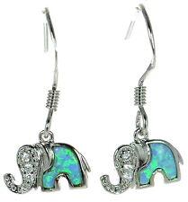 Solid 925 Sterling Silver Blue Inlay Opal w/ CZ Elephant Earrings '