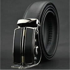 Mens Black Dress Fashion Leather Belt Stainless Steel Automatic Lock Buckle L5