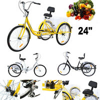 """Adult 24"""" 3-Wheel Shimano 7-Speed Tricycle Trike Bicycle Bike Cruise With Basket"""