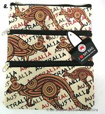 1x Australian Souvenir Travel Bags 3 Zipper Compartments - Aboriginal Kangaroos