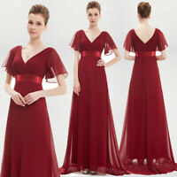 Ever-Pretty V-neck Long Evening Ball Gown A-Line Burgundy Bridesmaid Dress 09890