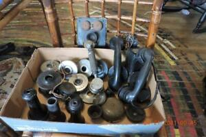 Lot of Old Antique Wall Candlestick Telephone parts Transmitters Hand Set More