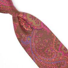 Josiah France Mens Silk Necktie Brown Magenta Blue Green Paisley Print Tie Italy
