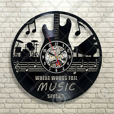 Musical Instruments Guitar Drums Notes Band Vinyl record cut out wall clock